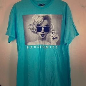 Bad and Boujee Marilyn Monroe turquoise tee! Sz L